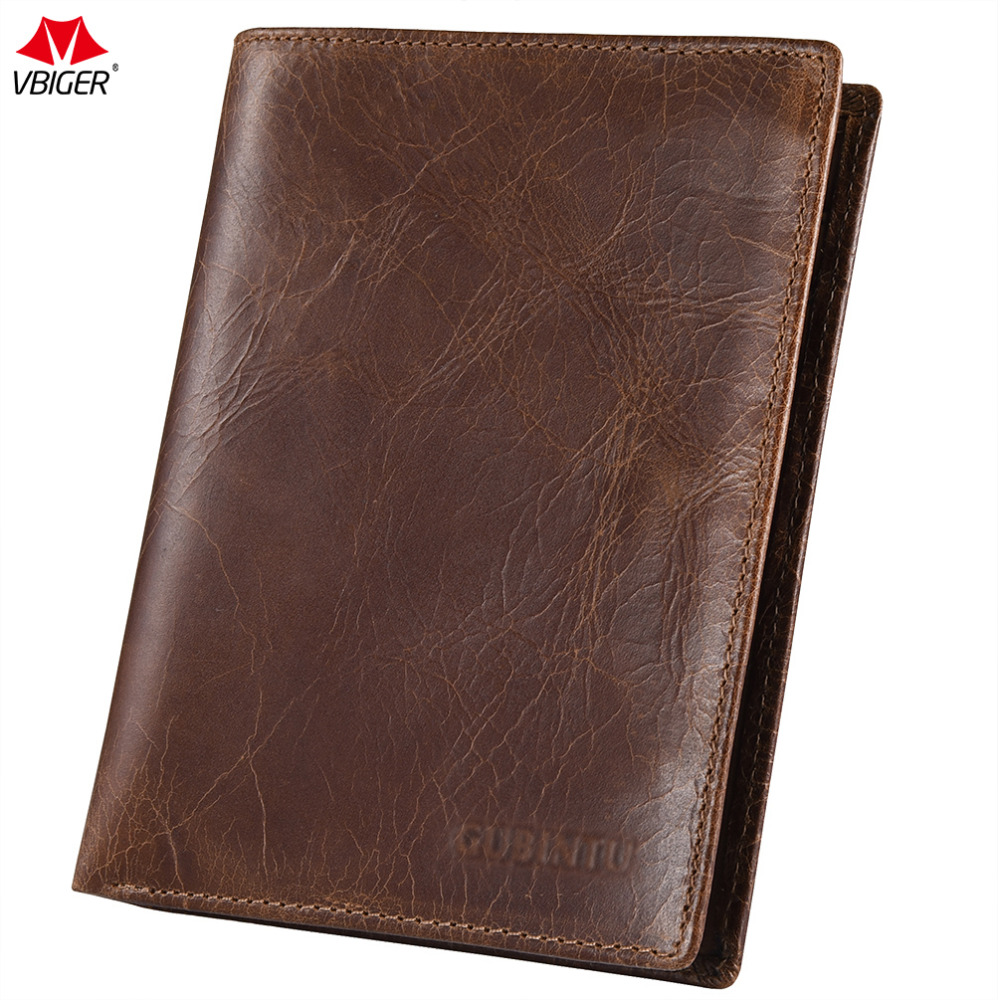Vbiger Men Wallet Fashionable Genuine Leather Billfold Classic Short Purse Leather Passport Holders Retro Wallet Card Purse ...