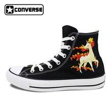 Для мальчиков и девочек Converse All Star Для мужчин женская обувь Покемон Rapidash лошадь ручная роспись обувь высокие черные кроссовки рождественские подарки