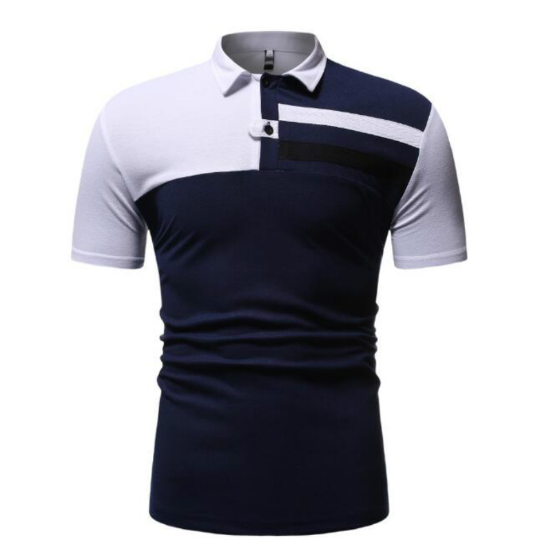 Men's fashion summer new youth hit color ribbon stickers European code short-sleeved   Polo   shirt