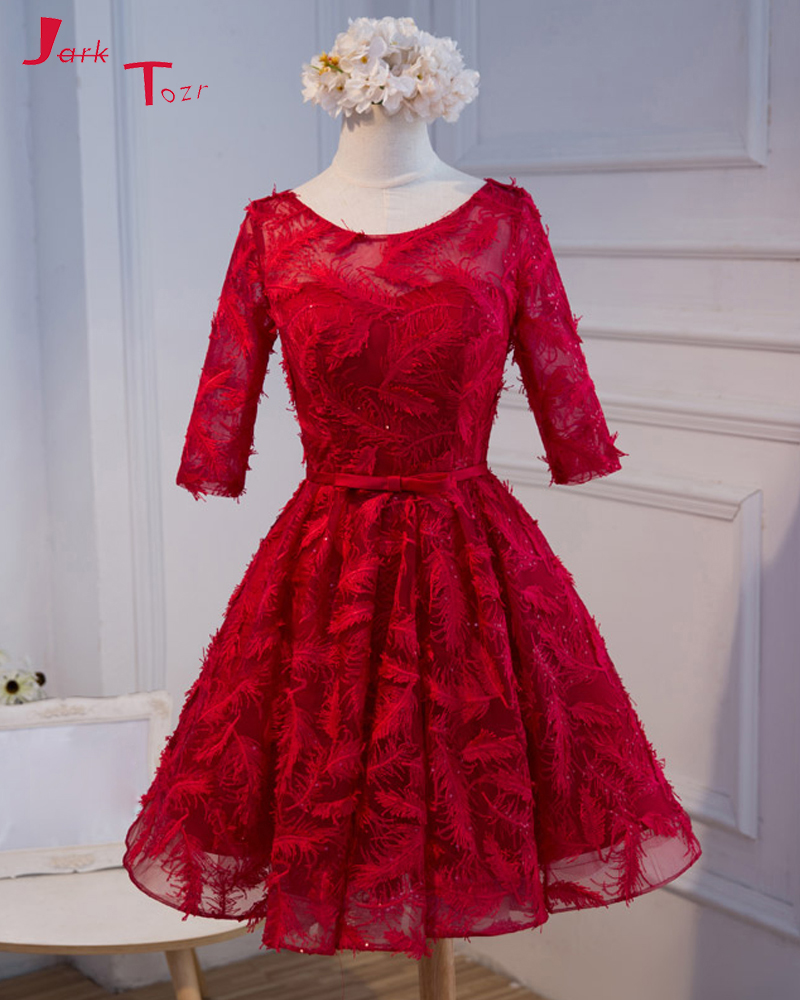 Jark Tozr New Design Three Quarter Sleeve Open Back Above Knee Girl A-line Party Gown Short 2019 Dark Red Lace   Bridesmaid     Dress