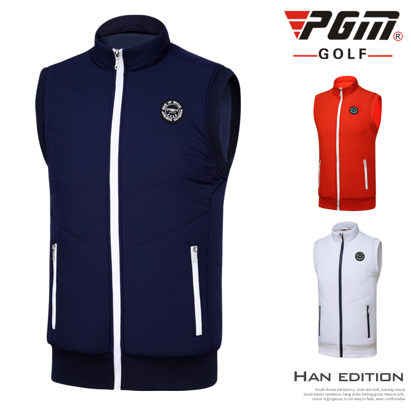 PGM Men New Thick Warm Vest Clothes Outdoor Sports Golf/Tennis Sleeveless Men's Fall Winter Windproof Jacket Plus Velvet Version pgm autumn winter waterproof men golf trousers thick keep warm windproof long pants vetements de golf pour hommes golf clothing