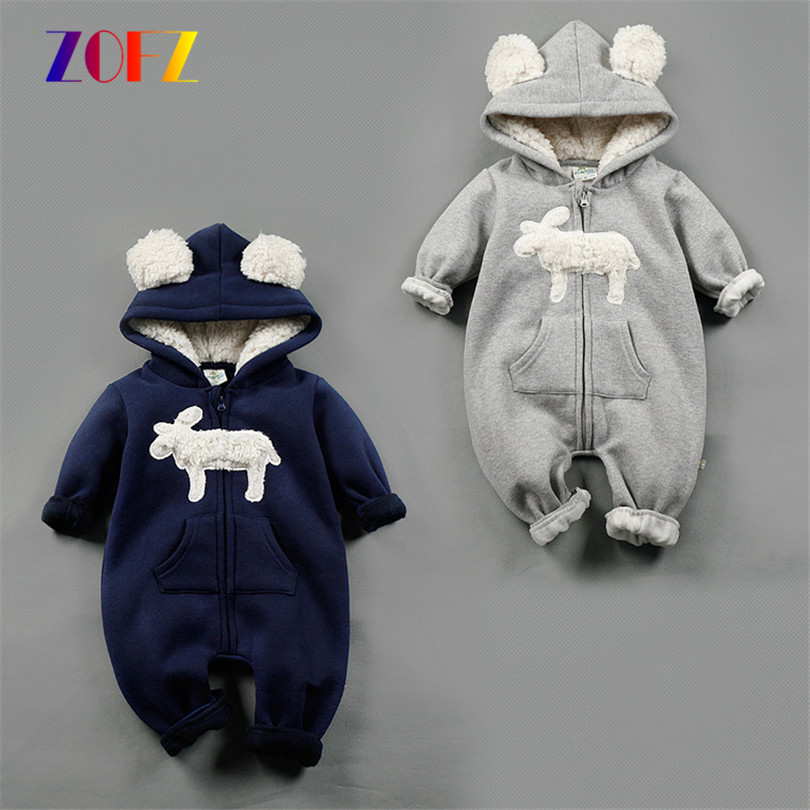 ZOFZ Baby Boys Clothes Autumn Winter Clothing Warm Soft Romper Kids Cotton Hooded Romper Animal Printed Baby Girls Clothes warm infant romper baby boys girls jumpsuit 7 18 months baby clothing cotton baby clothes cute animal romper baby costumes