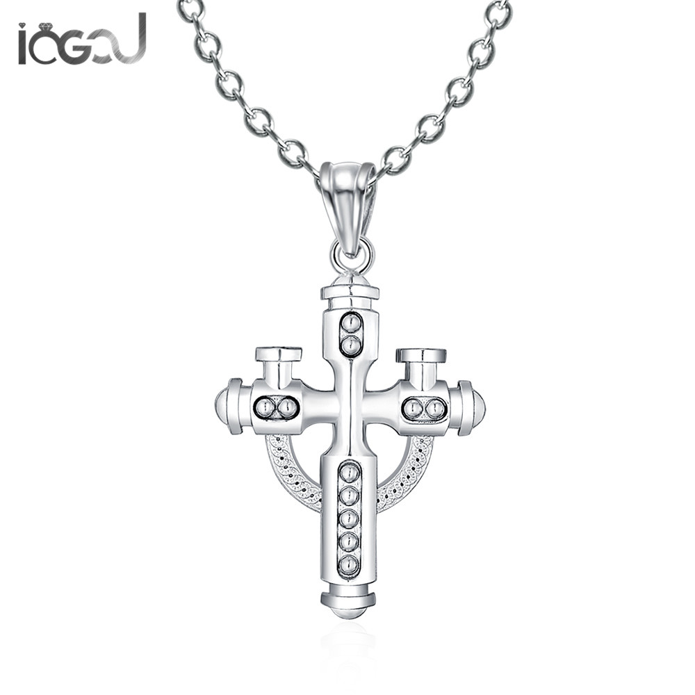 IOGOU Trendy 925 Sterling Silver Cross Pendants Men Women Daily Life Silver Charm Pendant Anniversary Hip Hop Party Jewelry Gift