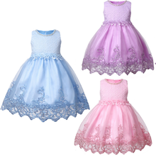 2019 Summer 2-3 Years Old Girl Mesh Princess Dress  Embroidered Flower Childrens Clothing