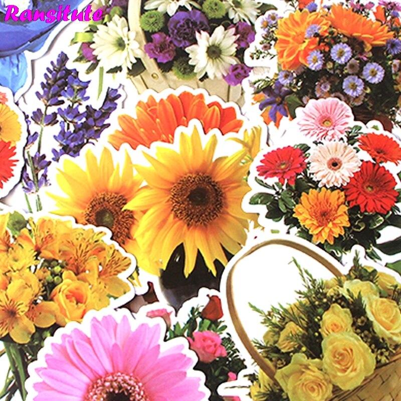 15Pcs/set Beautiful Flower And Plant Graffiti Sticker DIY Luggage Laptop Skateboard Car Motorcycle Bike Sticker R422