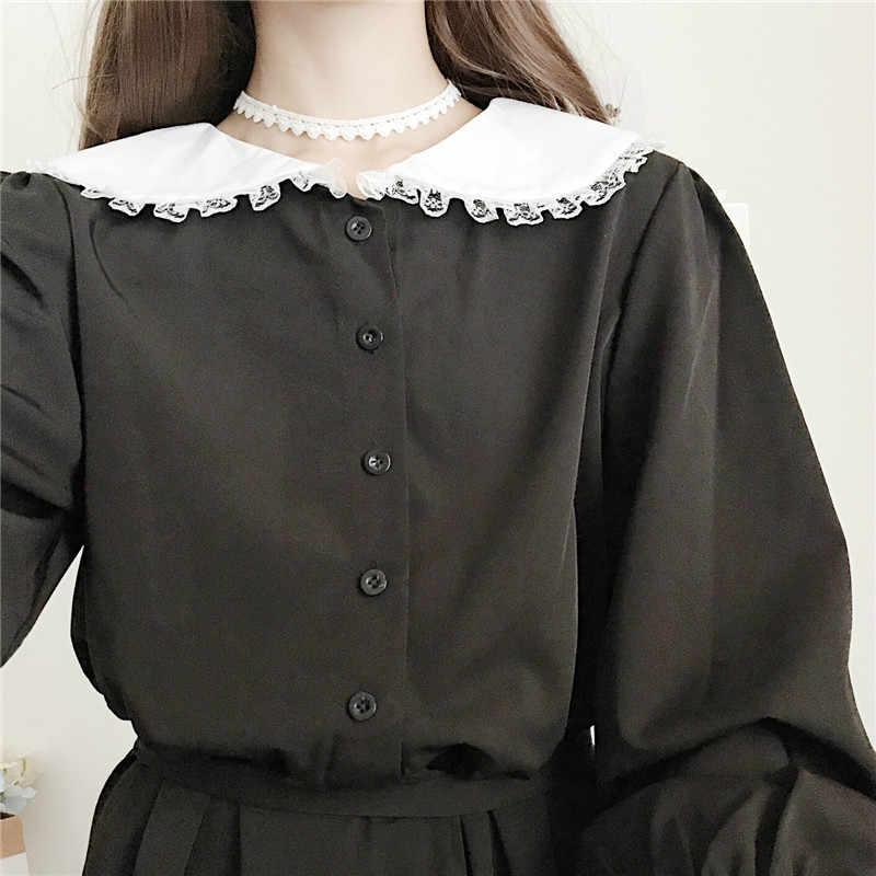 Японское Харадзюку женское черное длинное платье макси воротник Питер Пэн Винтажный стиль Лолита Vestidos Longo длинный рукав милое платье каваи