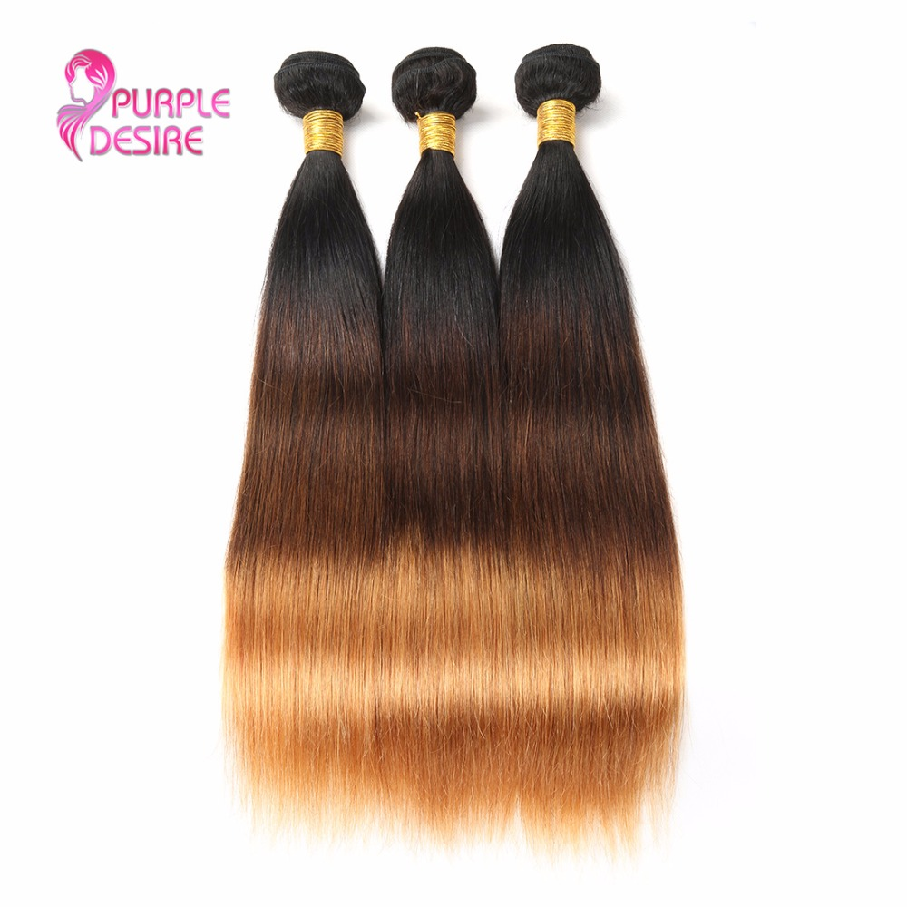 Brazilian Straight Hair 3 Bundles T1B/4/30 Ombre Human Hair Weave 3 Tone Non Remy Hair Extensions 8-30Inch Double Weft No Shed