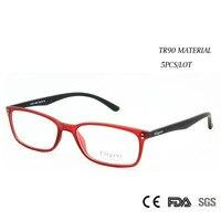 Atacado (5 pçs/lote) Novo 2017 Moda TR90 Frame Ótico Lente Clara Óculos Mulheres Homens Novo Design de Estilo Elegante para a Prescrição