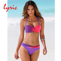 Lyric Bandeau Bikini Set Solid Swimsuit For Women Brazilian Swimwear Tanga Strappy Bow Top Bathing Suit