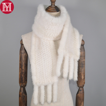 New Long Style Women Real Mink Fur Scarf Genuine Real Mink Fur Ring Scarfs Warm Soft Quality Knitted Real Mink Fur Shawl Scarves