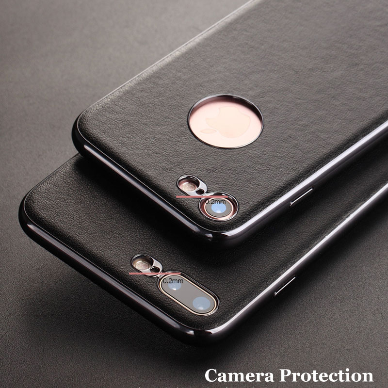 for iPhone 7 Case 7 Plus Leather Cases Luxury Slenky Slim Hard Covers with Disk inside