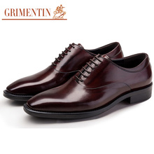 GRIMENTIN Brand Italian luxury genuine leather mens shoes pointed toe lace up formal male shoes men flats for business wedding