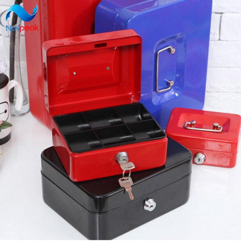 Navpeak 1 шт. Портативный коробка для хранения Нержавеющаясталь замок металлический Сейф ключ банк S/M/L/XL /xxl с ключом