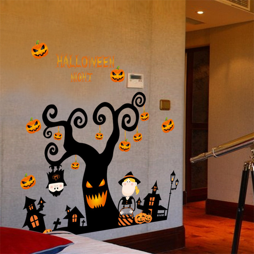 halloween party wall sticker removable ghost style 3d wall decals sticker furniture stickers decoration for childrens bedroom - Halloween Wall Decoration