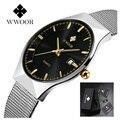 Hombres del reloj de lujo famosa marca wwoor hombres de negocios del reloj 2017 reloj de cuarzo ocasional de acero inoxidable reloj de los hombres a prueba de agua reloj masculino
