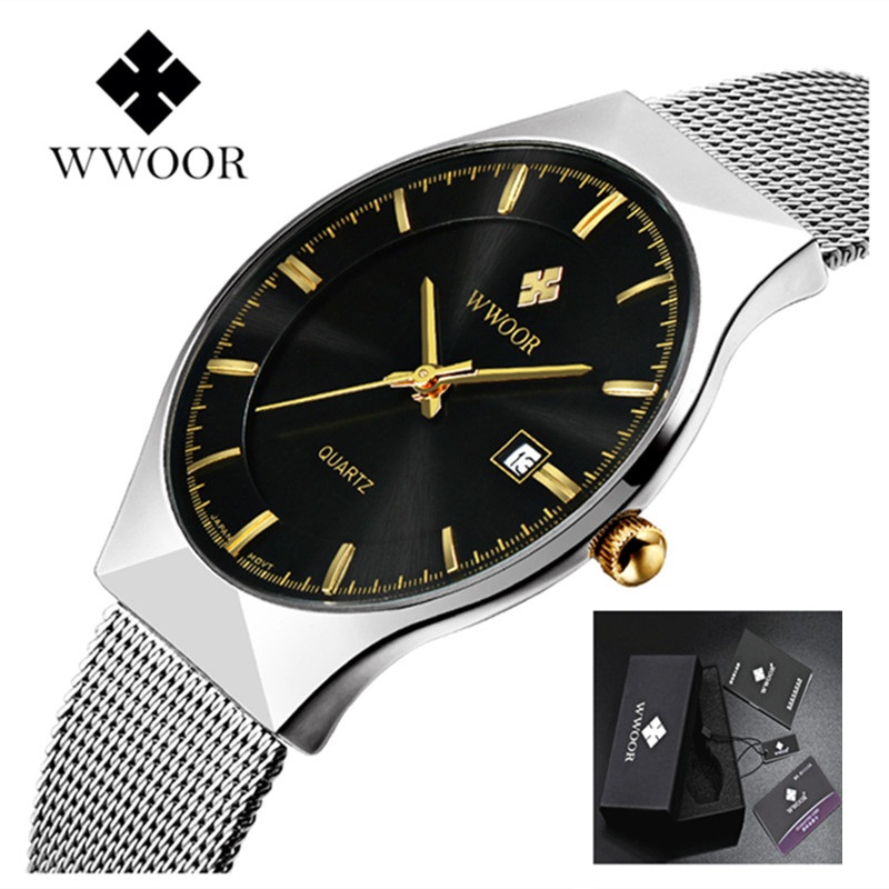 Luxury Watch Men Famous Brand WWOOR Business Men Watch 2017 Casual Quartz Watch Stainless Steel Men