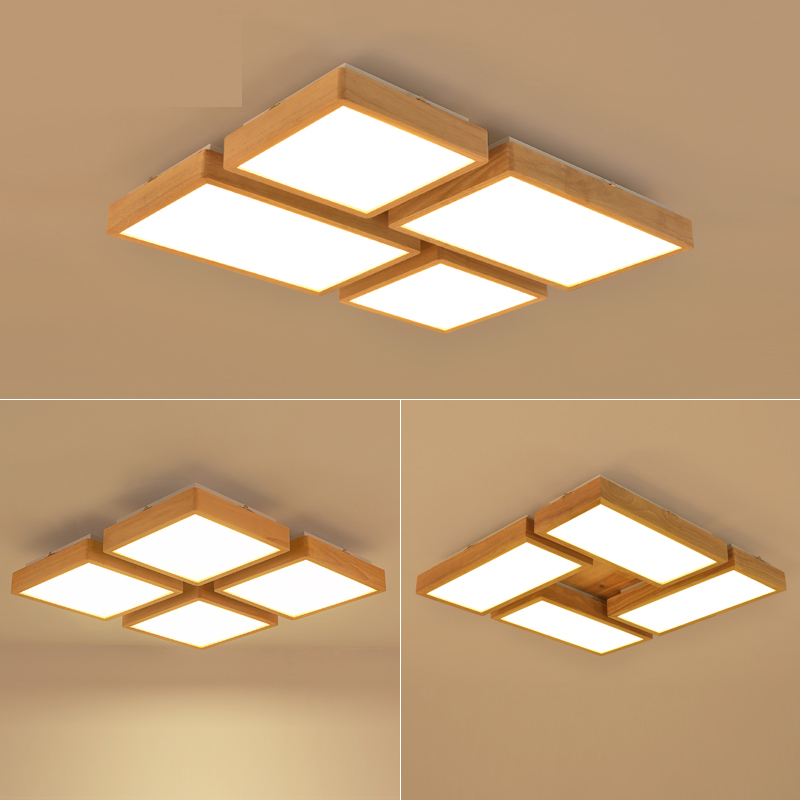 New Creative OAK Modern led ceiling lights for living room bedroom lampara techo wooden led ceiling lamp fixtures luminaria LED modern rural metal led ceiling lamp lustre printing glass bedroom led ceiling lights living room led ceiling lights fixtures