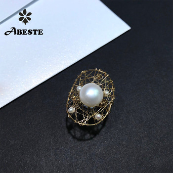 ANI 14K Roll Gold Handmade Women Ring Natural Freshwater White Pearl oorbellen Roll Gold bague fine Engagement Jewelry Custom