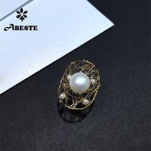 Женское кольцо ручной работы ani Золотое с натуральным пресноводным