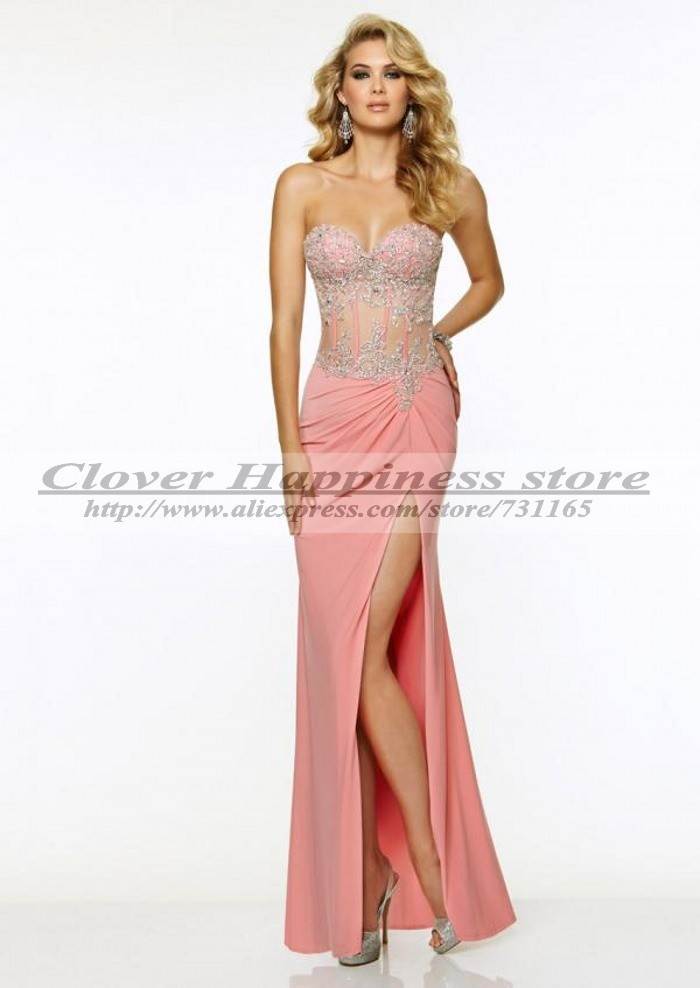 Vestido De Gala High Slit Mermaid Prom Dress Pink Long Corset Prom ...