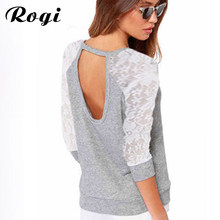 Rogi Women Blouses 2018 Spring Autumn Patchwork Lace Blouse Long Sleeve Sexy Backless Shirt Women Tunic Tops Blusas Femininas(China)