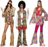 FREE SHIPPING New 2016 Ladies 80s Retro Hippie Go Go Girl Disco Costume Fancy Dress Hen Xmas Party size