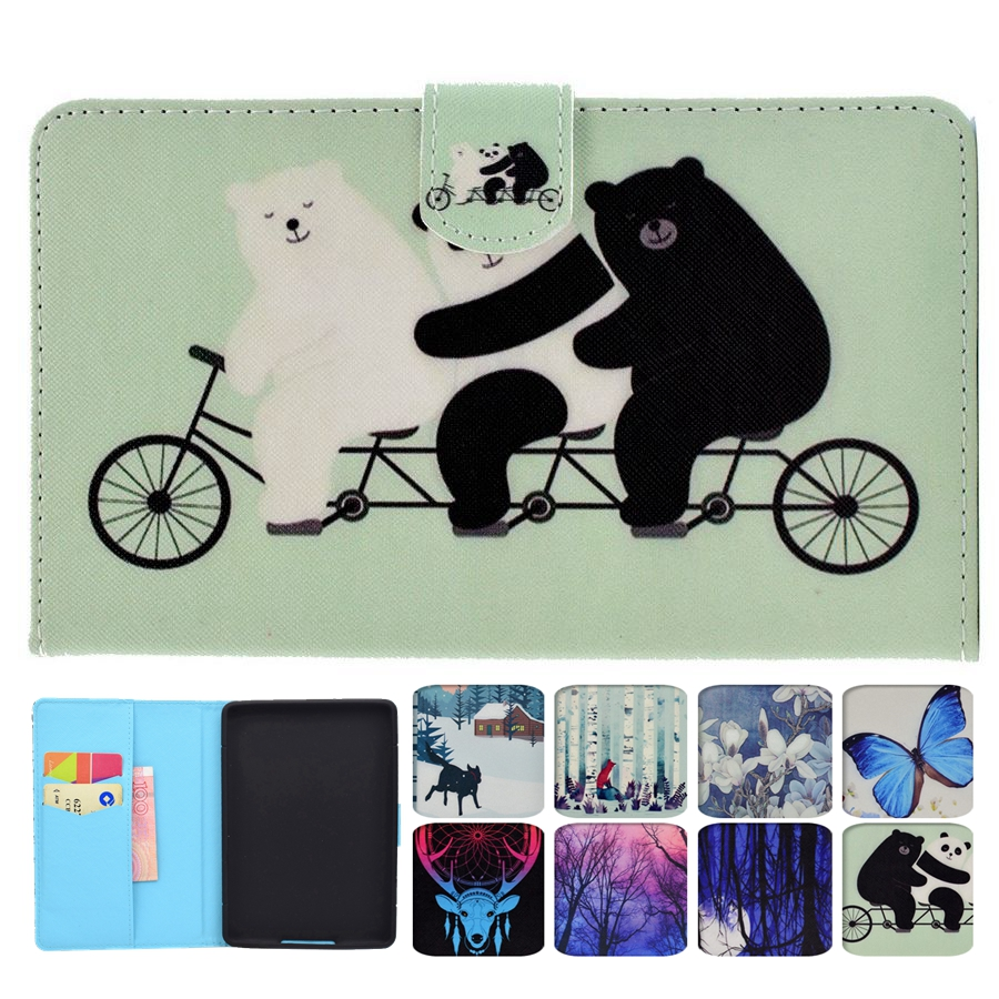 Misolocat for Amazon Kindle Paperwhite 1 2 3 Case Flip Tablet Cover Stand Funda Magnet PU Leather Auto Sleep Capa Panda Bear mulinsen men