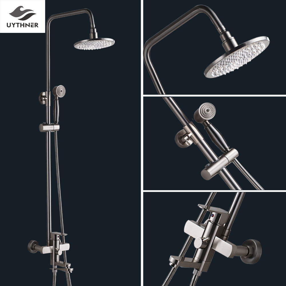 Uythner Different Size of Brass Shower Head+Brass Hand Spray + Adjustable Shower Bar Brushed Nickel Finish