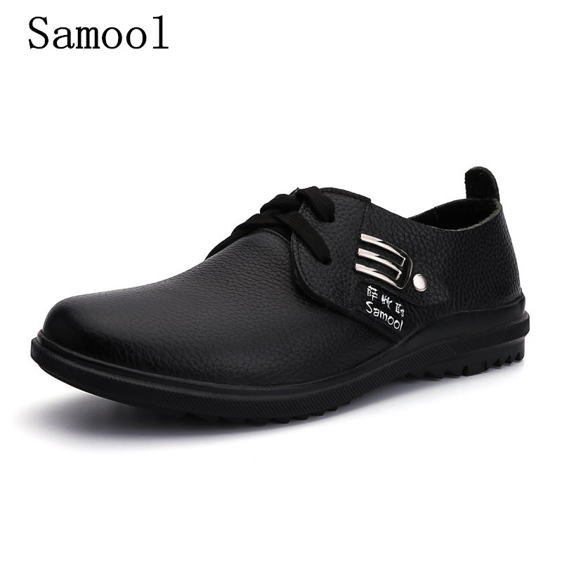 Men's Casual Shoes Lace Up Genuine Leather Shoes For Men Brown Fashion Autumn Men Shoes Round Toe Flats Shoes Big Size 37-47 free shipping 2017 new black brown autumn and winter full grain leather casual shoes men s fashion flats lace up shoes for men