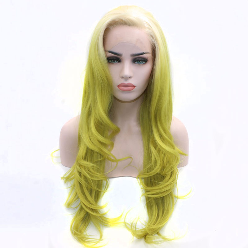 Bombshell Blonde Ombre Green Natural Wave Synthetic Lace Front Wig Glueless Heat Resistant Fiber Hair Natural