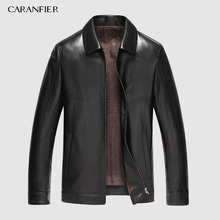 CARANFIER Mens Jackets Genuine Sheepskin Leather Casual Slim Fit Coats Motorcycles Outerwear Overcoats DHL Free Shipping M-4XL