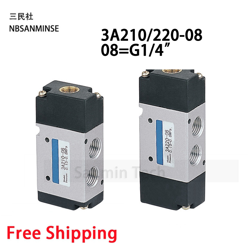 NBSANMINSE 3A210 1 8 1 4 3 8 1 2 Two Position Three Way Air Pneumatic Valve AirTAC Type Air Control Valve in Valve from Home Improvement