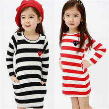 Korean Style Stripde Children's Tops Kids Clothing Cotton Crewneck Baby Girls Long Sleeve Casual Dress Long T Shirt Tee Bloues