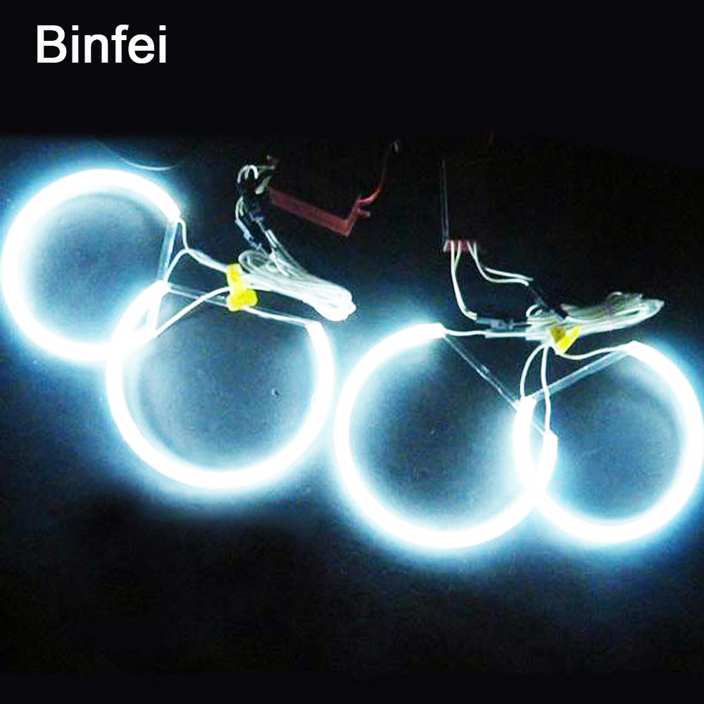 Binfei Car DRL CCFL LED Angel Eyes Light 4pcs 131mm Daytime Running Light 6000K Cool White Headlight For BMW E46 E36 E39