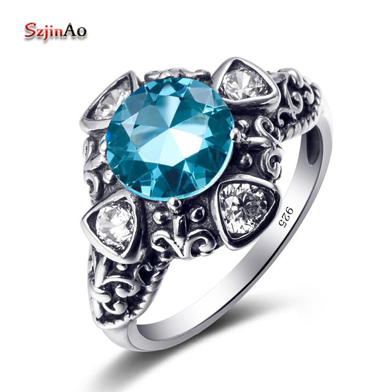 Szjinao Coran Flower Sterling Silver 925 Rings Rock Wedding Rings For Women Blue Aquamarine Cheap-Jewelry-Wholesale Female