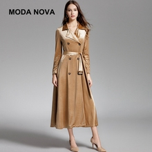 Moda Nova High Quality Trench Coat Women Elegant Gold Velvet Double-Breasted Long Sleeve Long Coat 2018 Autumn Clothes Befree