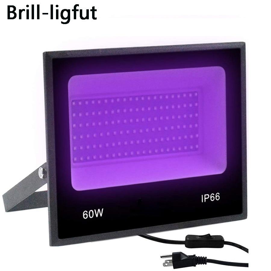 UV LED Floodlight 30W 60W Ultra Violet LED Black Light With On/off Switch AC85-265V IP66 Waterproof DJ Disco Party Stage Light