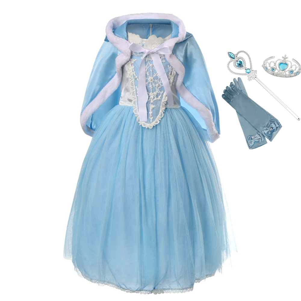 FindPitaya Girls Cinderella Dress Short Sleeve Princess Summer Cosplay Costume Kids Prom Party Birthday For kids Party Gifts