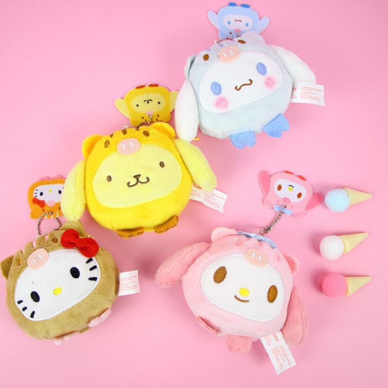 Genteel 1 Pc New Hot Sale Hello Kitty My Melody Pudding Cinnamoroll Dog Plush Coin Purse Cartoon Wallet Plush Purses Toys For Kids Gift