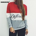 2017 Women Pullover Spring Hoodies Letters Different Printed Mix Color Casual Fleece Sweatshirts Sudaderas Mujer