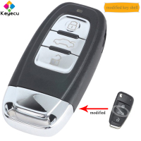 KEYECU Replacement Upgraded Flip Keyless Go Smart Remote Car Key Shell With 3 Buttons & Insert Uncut Blade FOB for Audi A6L Q7