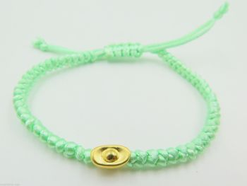 Solid 24K Yellow Gold 3D Yuanbao Bead knitted Bracelet 16cm Length