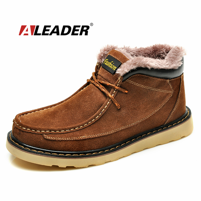 2016 Leather Snow Boots Mens Waterproof Winter Shoes Casual Suede Ankle Boots Men Martin Fur Boots Cowboy Boots Shoes Men Botas