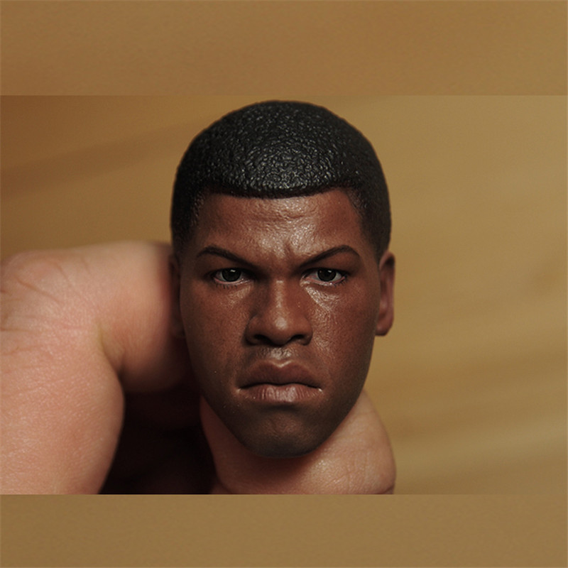Mnotht Head Sculpt 1/6 Scale Finn Black Head Sculpt Star Wars 7: The Force Awakens Model Collection l30 Action & Toy Figures die shi spot burning the soul of a model burns 1 6 head carved figures are base contains mask