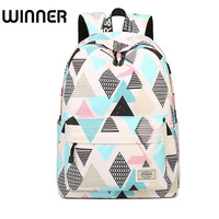 Casual Preppy Style Ladies Waterproof Backpack Geometry and Tree Patterns Printing Trendy Travel Female Bookbags for School