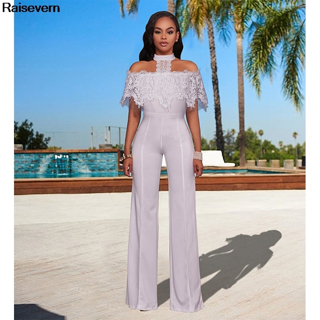 b19ada3103e New Rompers Womens Jumpsuit 2018 Mesh Lace Jumpsuits Elegant Office Work  Overalls Lady Off Shoulder Solid Black White Jumpsuit