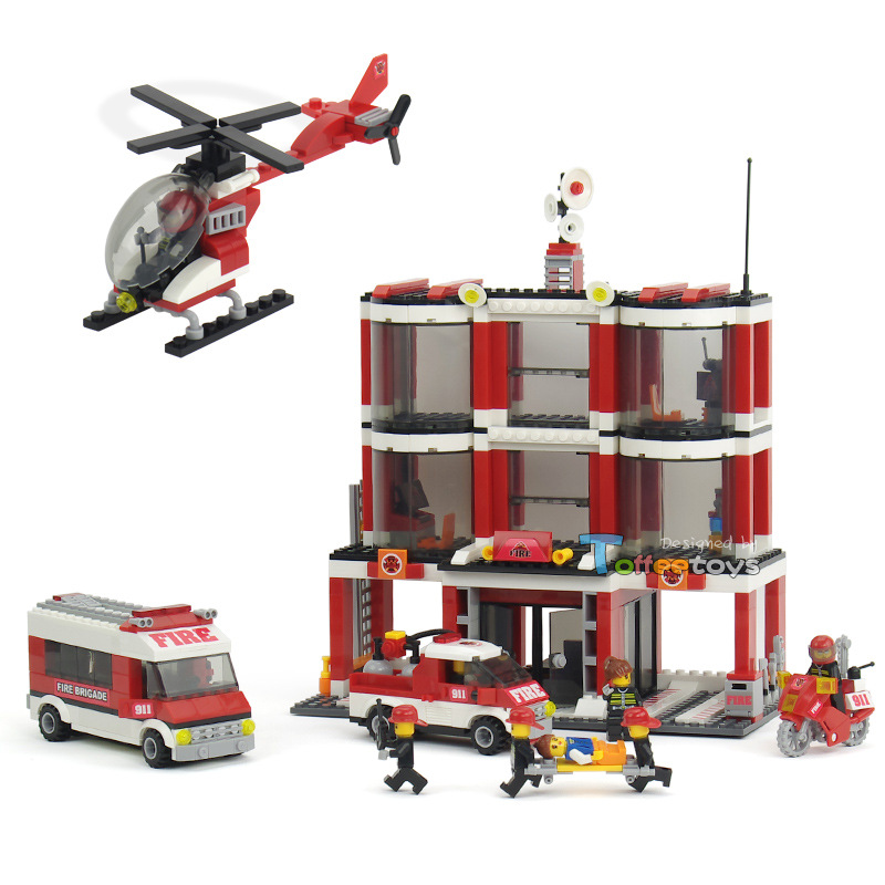 Designers children educational toys for children fight inserted plastic building blocks Fire Center Fire Station Gift for child puzzle toy building blocks assembled fight inserted toys