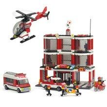 Designers children educational toys for children fight inserted plastic building blocks Fire Center Fire Station Gift for child