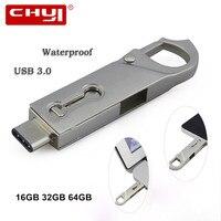 USB מתכת כונן USB Flash 32 GB OTG 3.0 עט כונן 16 GB סוג C במהירות גבוהה כונן פלאש מקל זיכרון הבזק USB עמיד למים כונן