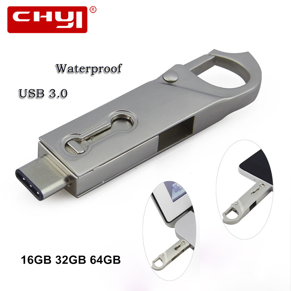 USB Flash Drive 32GB OTG Metal USB 3.0 Pen Drive 16GB Type C High Speed Flash Drive Memory Stick Waterproof USB Flash Drive